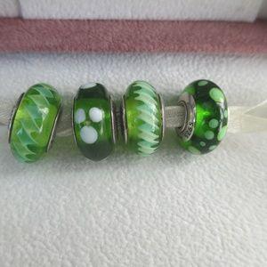 Authentic Pandora lot of 4 green retired murano